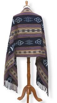 Handwoven rebozo shawl with wide indigo ikat panels natural dyes shades of deep violet and raw umber backstrap loom guatemalan textile back view.jpg