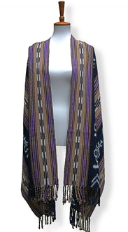 Handwoven rebozo shawl with wide indigo ikat panels natural dyes shades of deep violet and raw umber backstrap loom guatemalan textile front hang view.jpg