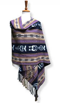 Handwoven rebozo shawl with wide indigo ikat panels natural dyes shades of deep violet and raw umber backstrap loom guatemalan textile front drape view.jpg