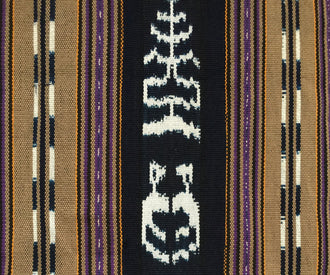 Handwoven rebozo shawl with wide indigo ikat panels natural dyes shades of deep violet and raw umber backstrap loom guatemalan textile jaspe detail view.jpg