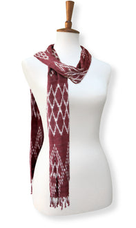 Mayan backstrap loom weaving silk & cotton ikat scarf antique rose simple wrap view