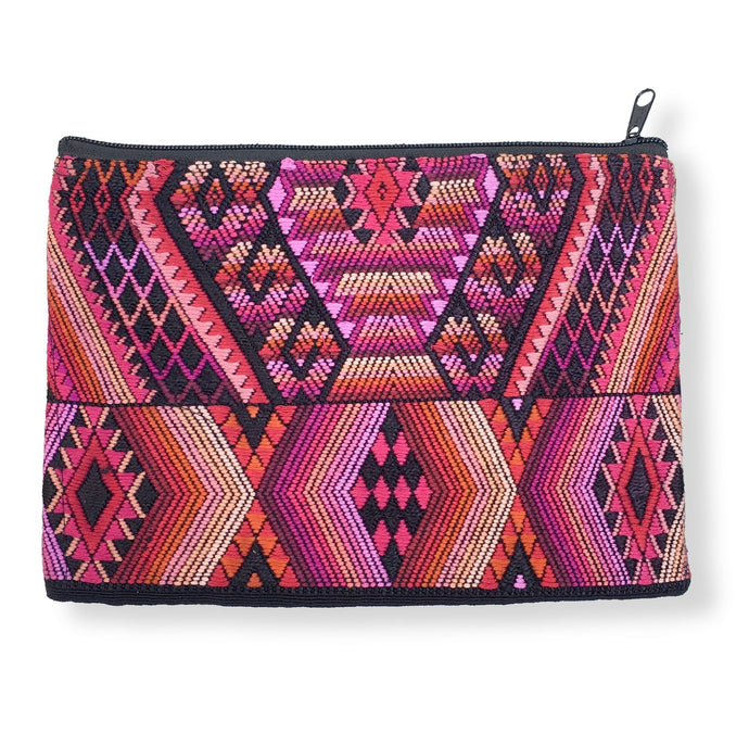 Handwoven Brocade Zippered Clutch. Geometric mayan cosmology designs in shades of pink and black from an upcycled vintage huipil. backstrap loom woven Guatemalan textile