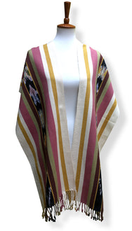 Handwoven cotton scarf or shawl with multi-colored hand dyed ikat. Backstrap loom made Guatemalan textile, front drape view