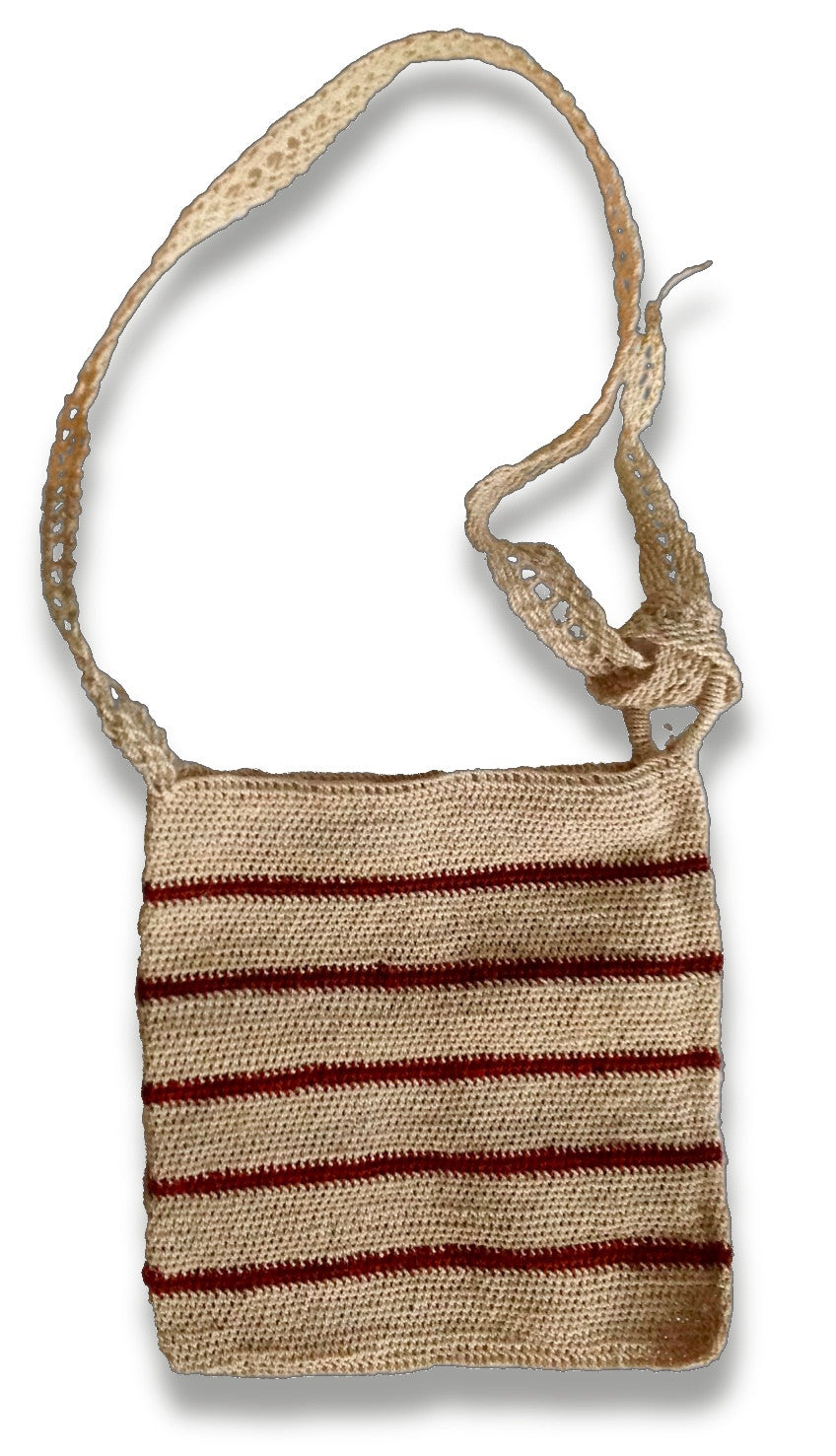 Agave fiber shoulder bag.  Hand spun and handwoven Guatemalan Textile.  Natural with maroon stripes