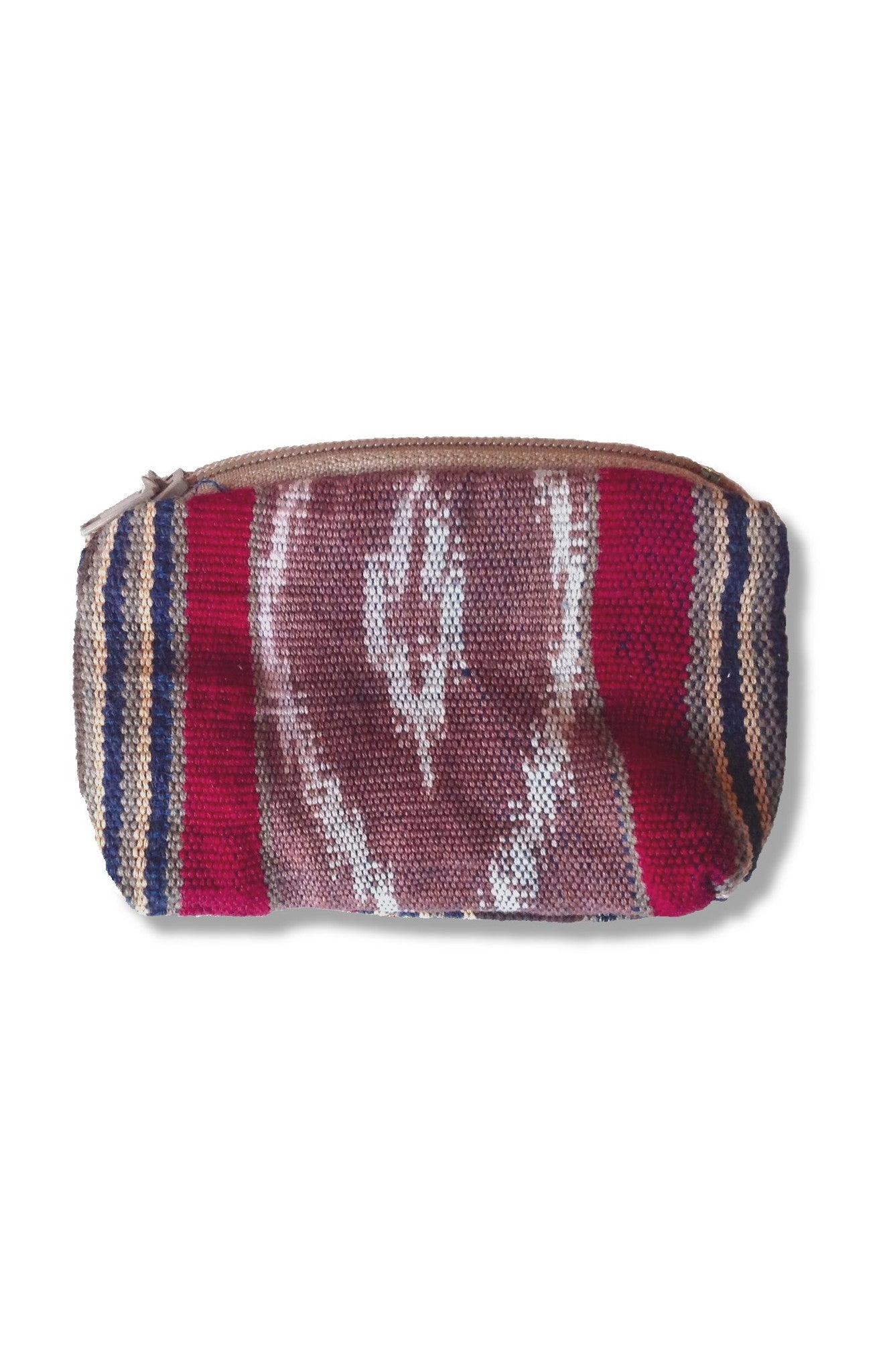 Backstrap loom woven coin purse with ikat flair in center panel. Tan, white, red and blue with ykk zipper. Guatemalan textile. Front side.