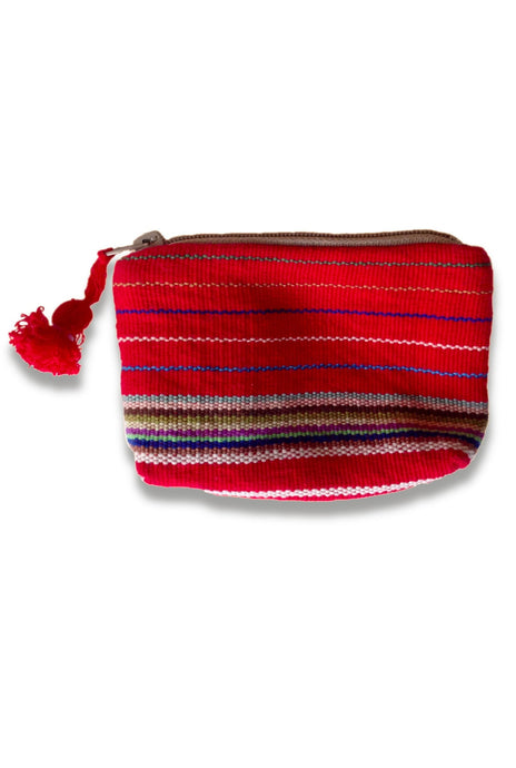 Handwoven coin purse from a traditional backstrap loom huipil. Red with multicolor stripes and zipper. front side.