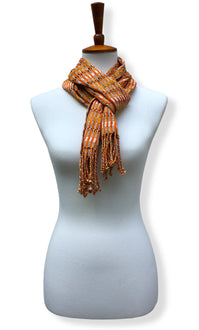 Handwoven Pumpkin Mash Cotton scarf with twisted thread accents. Backstrap loom made Guatemalan textile, loop wrap view