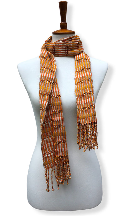 Handwoven Pumpkin Mash Cotton scarf with twisted thread accents. Backstrap loom made Guatemalan textile, neck wrap view