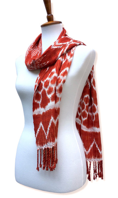Handwoven silk & cotton scarf. Carrot Orange, hand dyed ikat, backstrap loom made Guatemalan textile. Simple wrap view