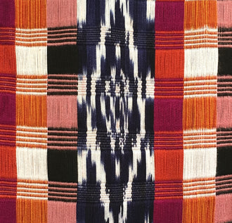 Handwoven silk & cotton scarf. Autumn blaze colors, hand dyed ikat, backstrap loom made Guatemalan textile, jaspe detail view
