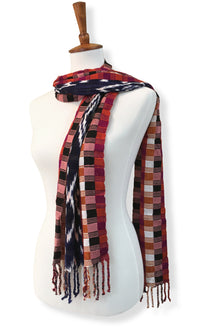 Handwoven silk & cotton scarf. Autumn blaze colors, hand dyed ikat, backstrap loom made Guatemalan textile, simple wrap view