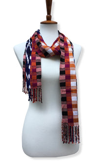 Handwoven silk & cotton scarf. Autumn blaze colors, hand dyed ikat, backstrap loom made Guatemalan textile, full wrap view