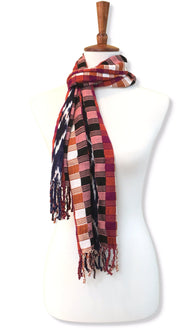 Handwoven silk & cotton scarf. Autumn blaze colors, hand dyed ikat, backstrap loom made Guatemalan textile, loop view