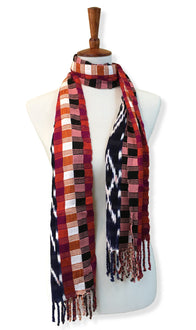 Handwoven silk & cotton scarf. Autumn blaze colors, hand dyed ikat, backstrap loom made Guatemalan textile, neck wrap view