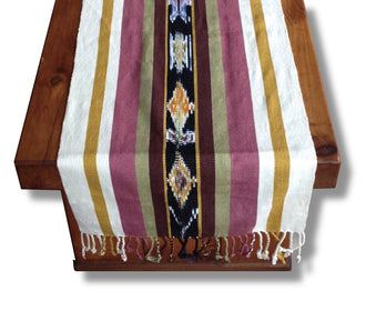 Handwoven cotton shawl or scarf with multi-colored hand dyed ikat. Backstrap loom made Guatemalan textile, table runner view