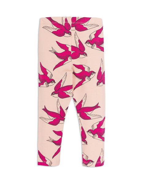 POPS & OZZY | mini rodini swallows leggings pink back