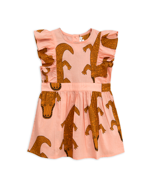 Pink Crocodile Ruffled Dress Mini Rodini | POPS & OZZY