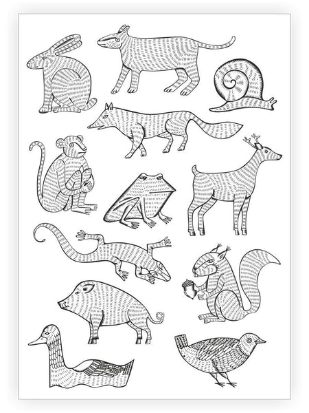 Ducky Street Animals Temporary Tattoo Sheet