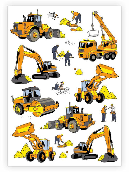 Ducky Street Construction Temporary Tattoo Sheet