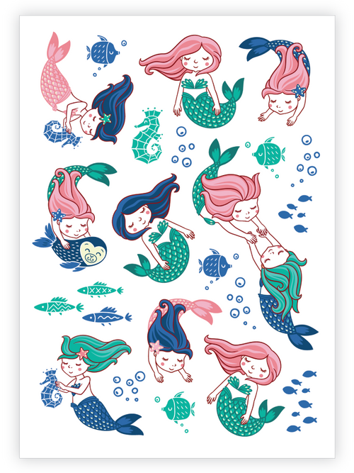 Ducky Street Mermaid temporary tattoos