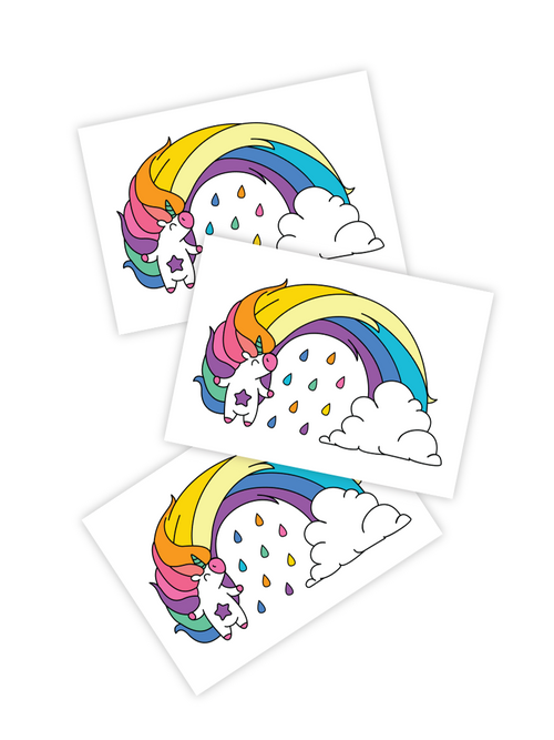 Ducky Street Unicorn Rainbow Temporary Tattoo