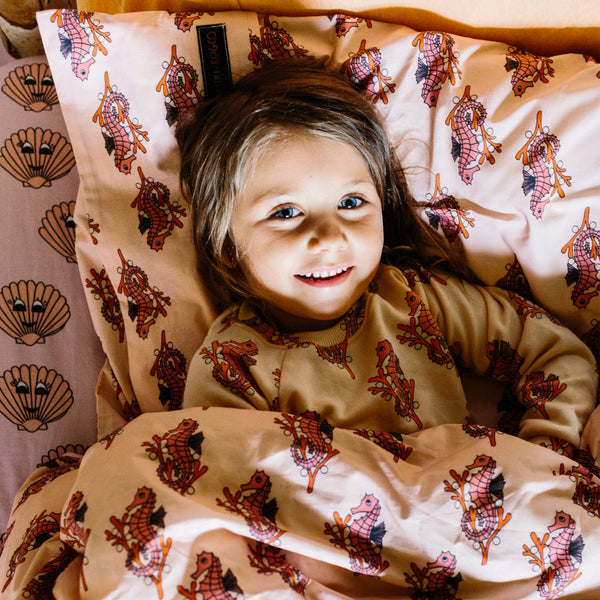 Kip & Co x Hugo Loves Tiki Seahorses Pillowcase | POPS & OZZY