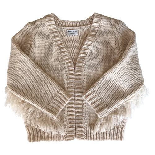 Maed For Mini Crazy Cougar Fringed Knit Cardigan POPS & OZZY