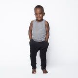Black Slim Fit Joggers by Mingo Kids - model