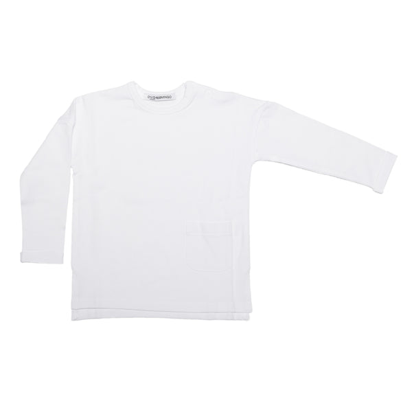 White Long Sleeved T Shirt by Mingo Kids