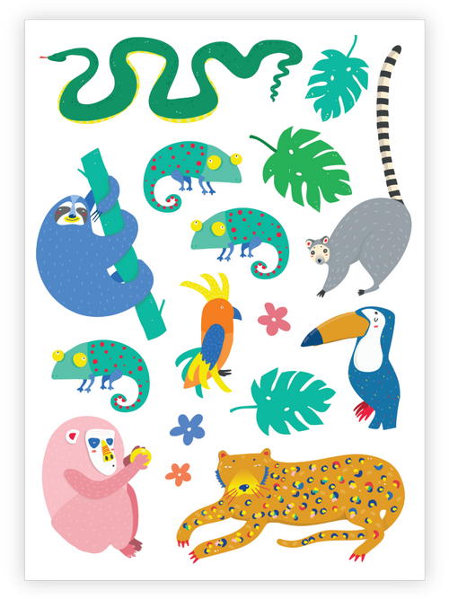 Ducky Street Jungle Temporary Tattoo Sheet
