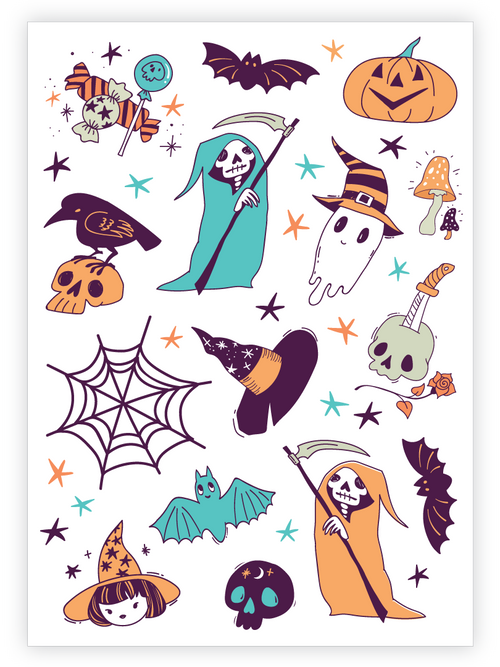 Ducky Street Halloween Temporary Tattoo Sheet