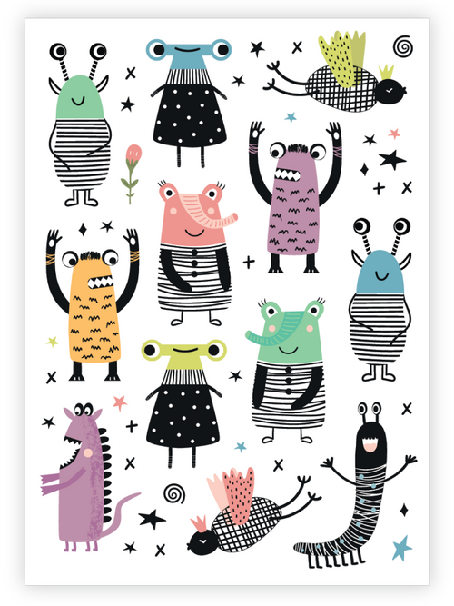 Ducky Street Monsters Temporary Tattoo Sheet