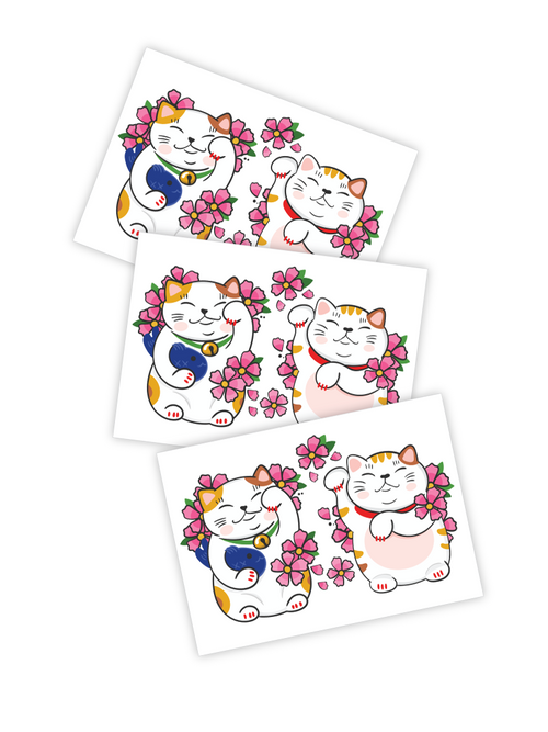 Ducky Street Lucky Cats Temporary Tattoos