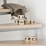 Ooh Noo wooden alphabet blocks, black, lifestyle