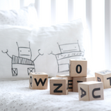 Ooh Noo wooden alphabet blocks, black, lifestyle 2