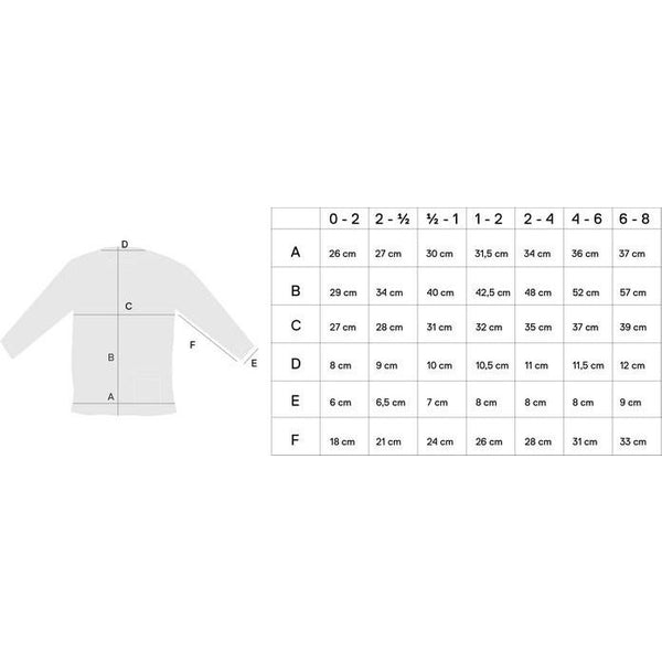 Mingo Kids size chart - long sleeve t shirt