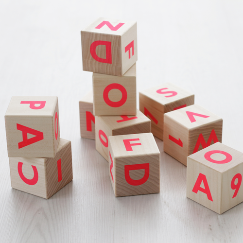 Wooden Alphabet Blocks, Pink Ooh Noo