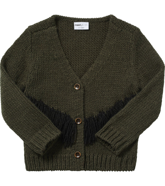 Tense Turtle Fringed Knit Cardigan