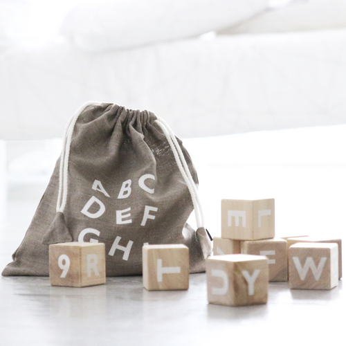 Wooden Alphabet Blocks, White Ooh Noo