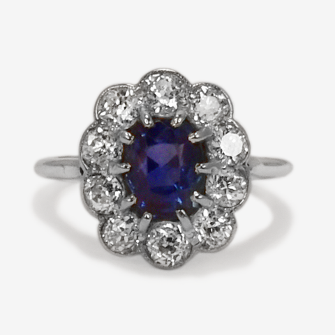 Art Deco, Sapphire, Old Cut, Diamond, Cluster Ring, engagement, Friar House