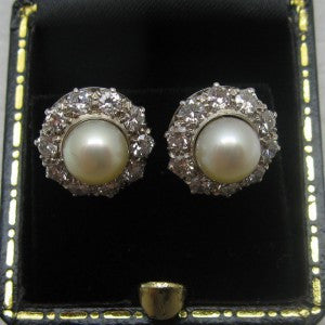 White Gold Cultured Pearl and Diamond Cluster Earrings