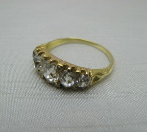 Art Deco Yellow Gold Five Stone Diamond Ring