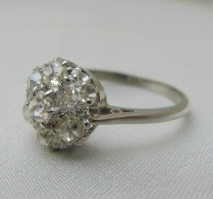 Vintage White Gold Diamond Cluster Ring