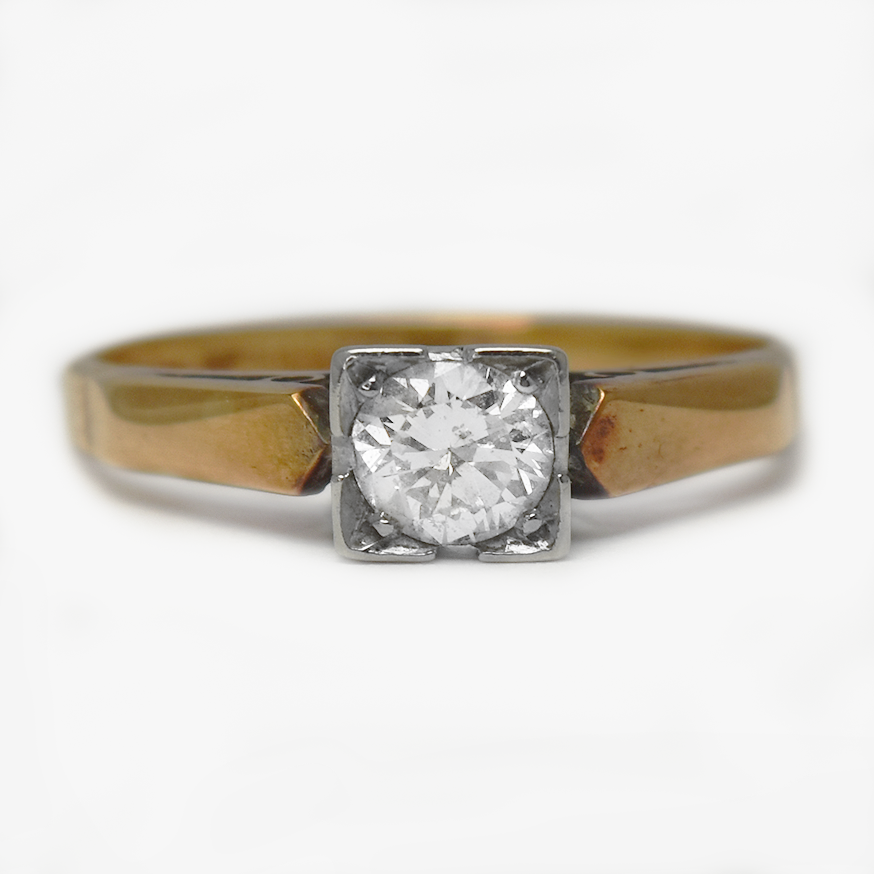 Art Deco Diamond Solitaire Engagement Ring .4 Carat