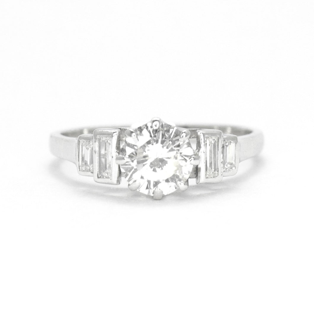 1930s Platinum .85 carat Diamond Engagement Ring with Baguette Shoulders - Friar House
