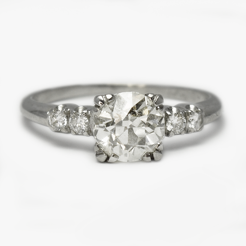 1.15 Carat Vintage Diamond Solitaire Platinum Engagement Ring