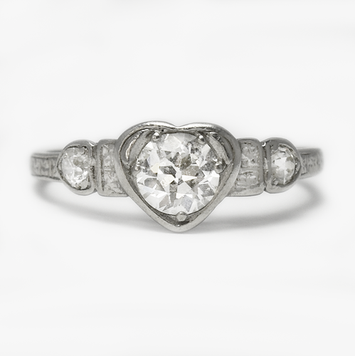 Heart Shaped Diamond Solitaire Platinum Engagement Ring