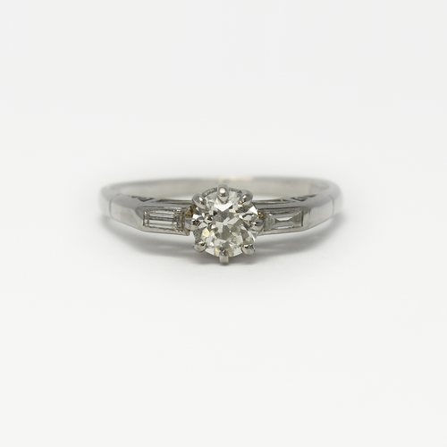 1930'S Diamond Solitaire Platinum Set Engagement Ring.