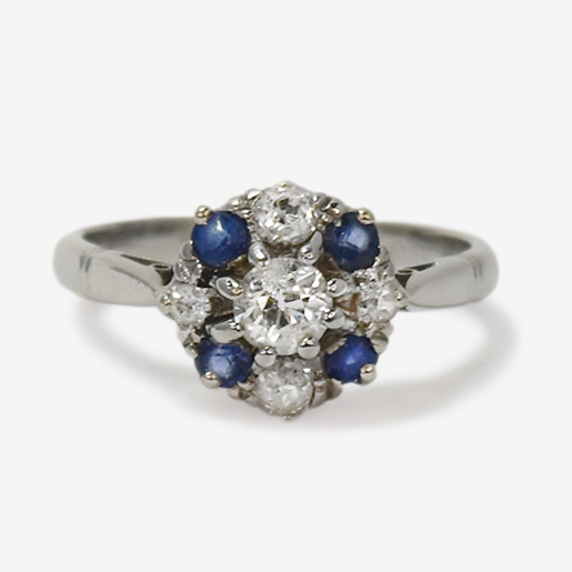 Vintage Diamond and Sapphire Cluster Ring.