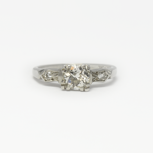 1930's Diamond Solitaire with Diamond Shoulders Engagement Ring.